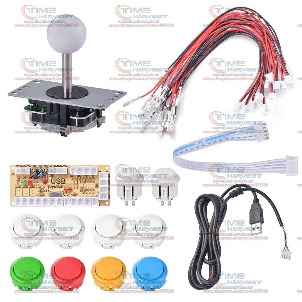 DIY arcade joystick handle kit set with 5 pin Joystick 24mm & 30mm push button spare parts USB cable wires for PC joystick plate