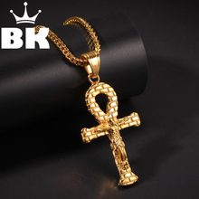 THE BLING KING Custom Stainless Jesus Anka Necklaces Hip Hop Full Iced Out Cubic Zirconia gold sliver CZ Stone(China)
