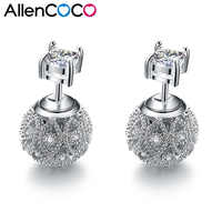 New Fashion Exquisite Hollow Flower Ball Shaped Stud Earrings Double Side Micro Mosaic CZ Crystals Silver Earrings For Women