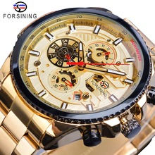 Forsining Golden Automatic Mechanical Mens Watch Racing Sports Design 3 Dials Multifunction Date Stainless Steel Band Wristwatch