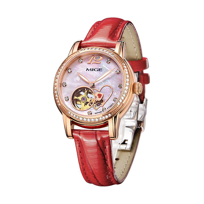 Mige 2017 New Real Mechanical Ladies font b Watch b font Fashion White Red Leather Female