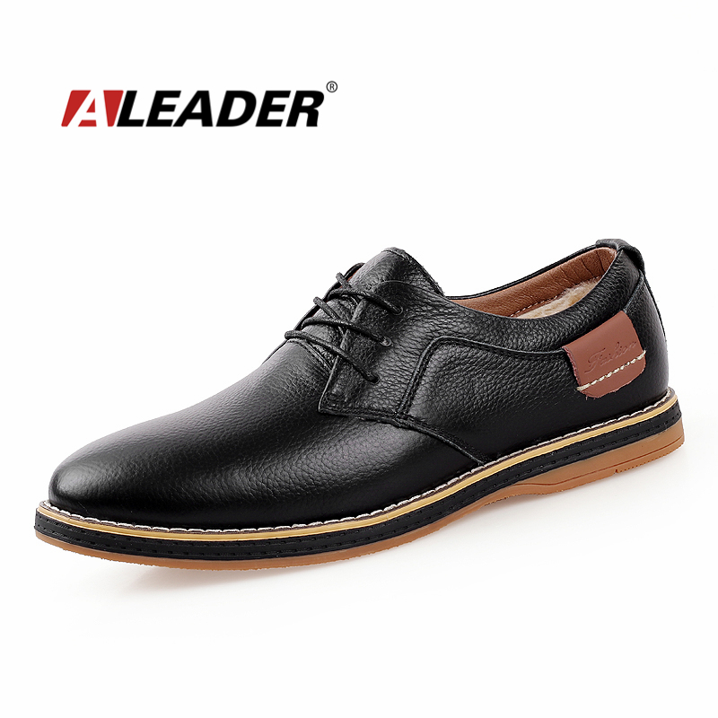 Casual Mens Leather Shoes Winter Warm Fur Shoes Men 2015 Genuine Fashion Leather Oxfords Men's Dress Shoes Formal Sapatos homme