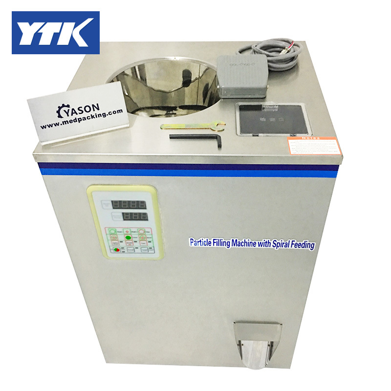 YTK 2-100g Tea or Herb filling machine with Spiral Feeding grind ytk 25 1200g weighing and filling machine dry powder filling machine for particle or bean or seed or tea grind