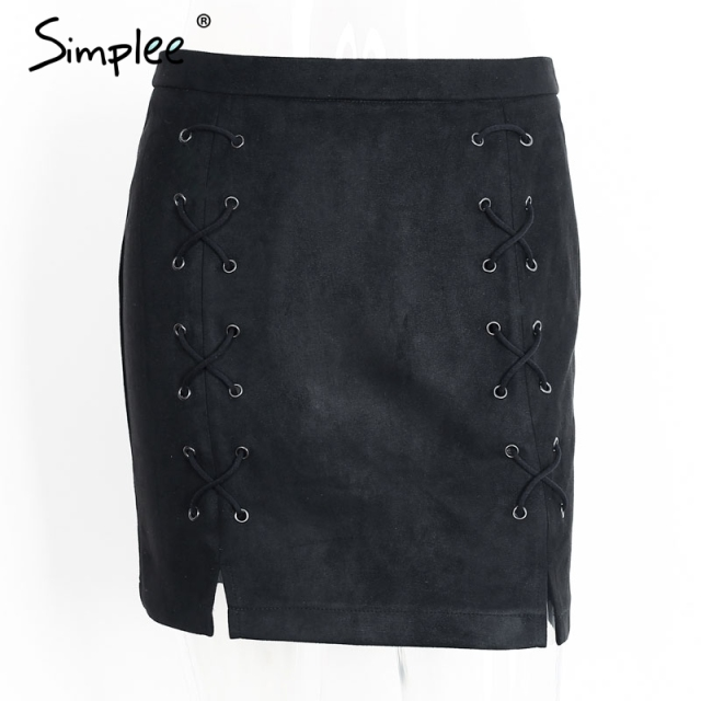 Simplee Sexy pockets leather suede pencil skirts women bottom Bodycon zipper short mini skirt High waist black skirt 2017