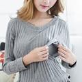 Breastfeeding Cotton Tee Breast Feeding Clothes Side Slit T Shirt 2017 Maternity Long Sleeve Nursing Clothing Top M-XXL