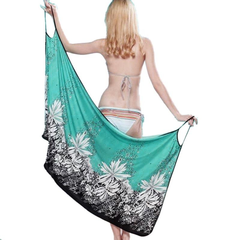 17 New Hot Women Beach Dress Sexy Sling Beach Wear Dress Sarong Bikini Cover-ups Wrap Pareo Skirts Towel Open-Back Swimwear 6