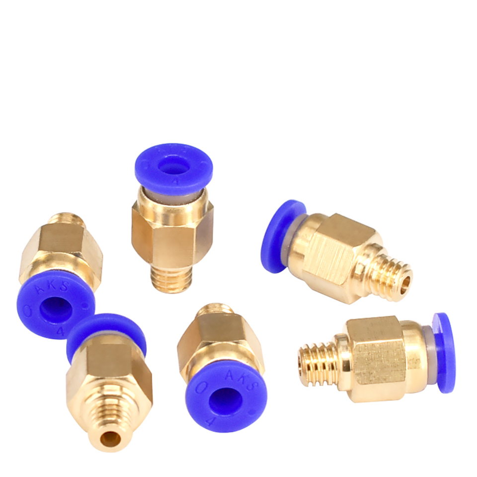 PC4-M6 Pneumatic Straight Connector Brass Part For MK8 OD 4mm 2mm Tube