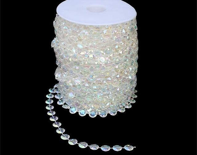 30meters Roll 10mm Acrylic Disk Beaded Iridescent Rainbow Crystal Garland Strands For Wedding Decoration Chandelier