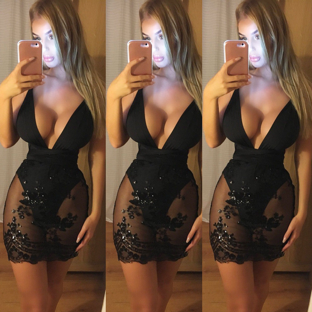 2018 Stylish Women's Sexy Perspective Deep V-Neck Halter Sort  Black Short Dress Ladies Mesh Patchwork Sleeveless Dress