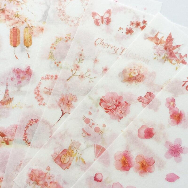 6 Sheets /Pack Romantic Spring Sakura Washi Paper Adhesive Decorative Label Stickers Stick Decoration Stickers
