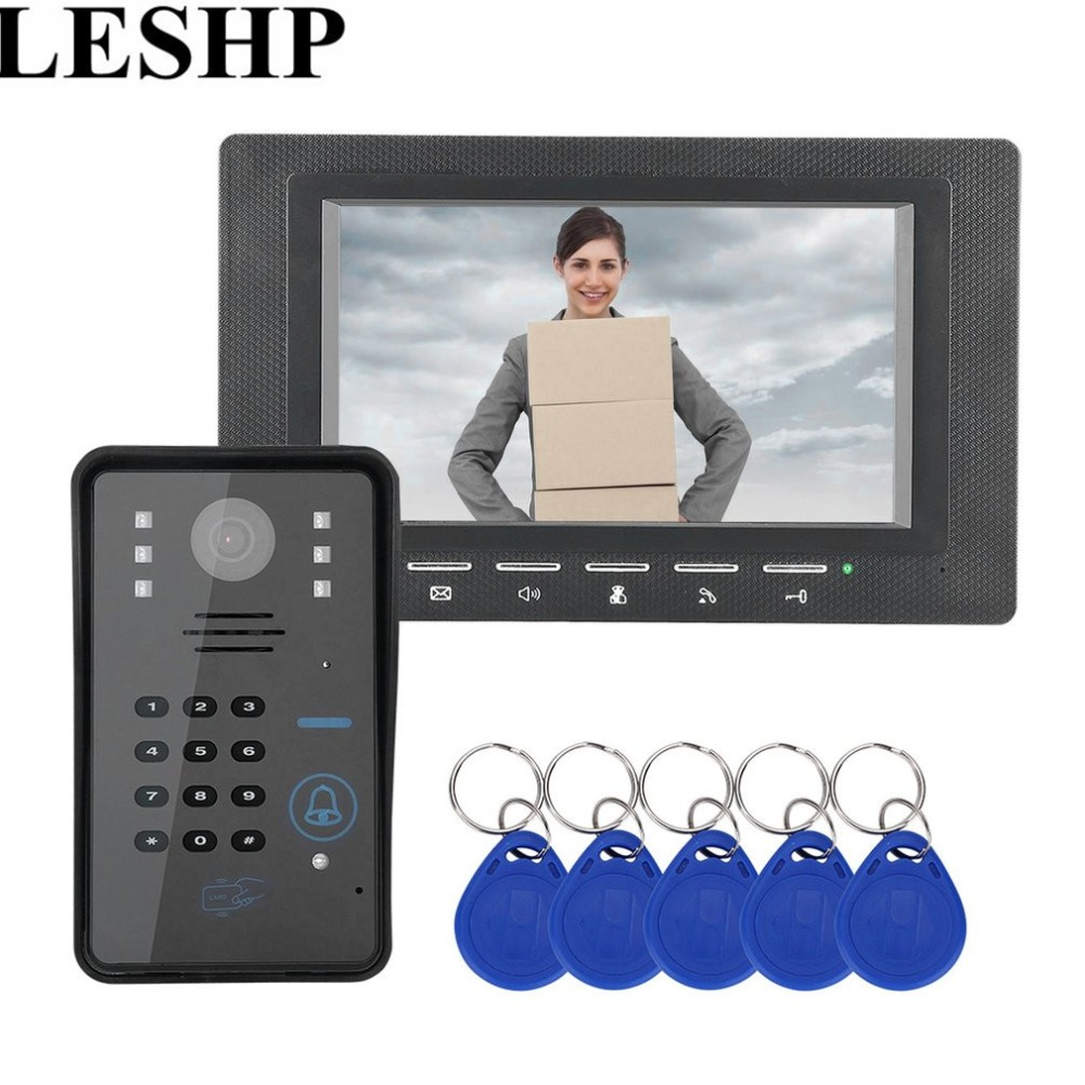 Wired Video Door Phone Intercom Doorbell With IR Camera 7 inch RFID Password Night Vision 1000 TV Line Access Control System 7 monitor video door phone system video intercom ir night vision alloy door camera wired alloy video doorbell interphone kits