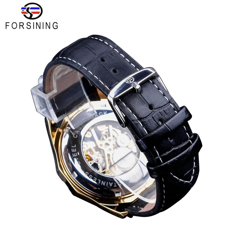 Forsining Waterproof Golden Black Skeleton Clock Two Button Decoration Mechanical Wrist Watches for Men Black Genuine Leather 5