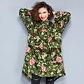 Plus Size 2016 New Autumn Women Long Trench Coat Thin Leopard Add Coats Green 3136