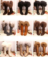 Free Shipping 2014 Winter Oversized Fox Fur Knee Length Snow Boots Women Warm Leather Jackboot Flat High Boots Size 40 H2902