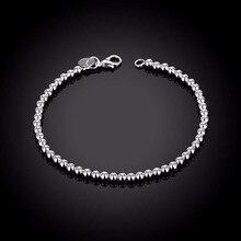Women's Fashion Jewelry 925 Sterling Silver Charm 4MM buddha beads chains Bracelets Bangle gift bag H198