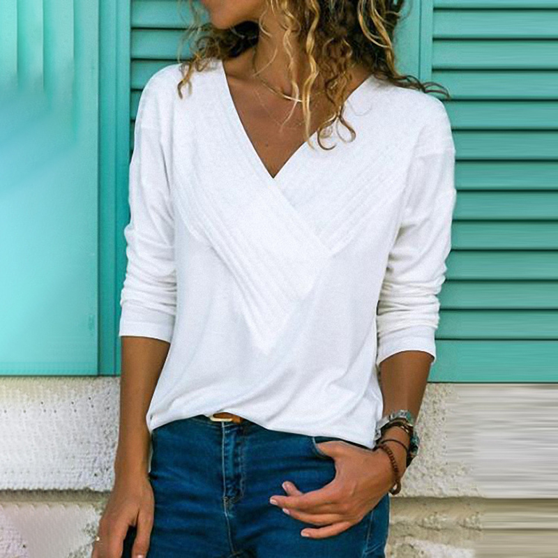 Autumn Winter Long Sleeve Pleated   Blouse   Women   Shirts   Casual Solid V-neck   Shirt   Plus Size Women   Blouses   Top S-5XL Blusas WS9866M