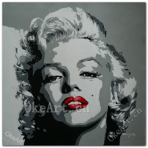 Frameless Marilyn Monroe Red Lips Fashion Picture Hand Painted Abstract Black And White Canvas Painting Home