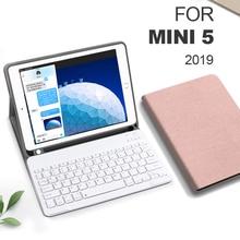 Funda For iPad mini 5 4 3 2 1 Keyboard Case With Pencil Holder Smart Cloth Texture Silicone Back Cover For iPad mini 5 2019 7.9
