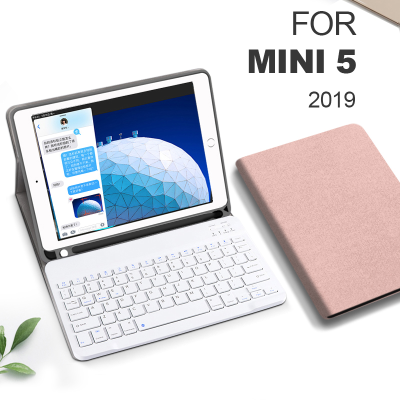 Funda For iPad mini 5 <font><b>4</b></font> <font><b>3</b></font> <font><b>2</b></font> 1 Keyboard Case With Pencil Holder Smart Cloth Texture Silicone Back Cover For iPad mini 5 2019 7.9 image