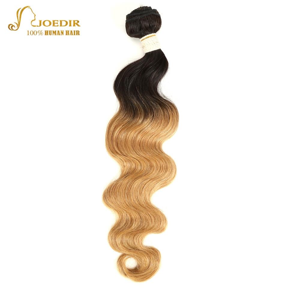 Joedir Pre-Colored 1 Piece Brazilian Remy Hair Body Wave Human Hair Weave Bundle Deal T1B 27 Ombre Blonde Hair Free Shipping