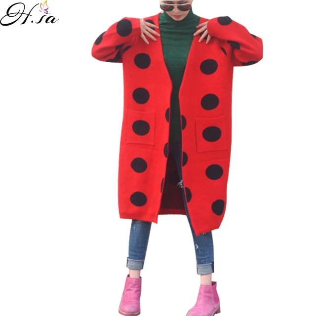 H, SA Las Mujeres Cardigans 2016 Otoño Invierno Casual Suéter Poncho Punto Impreso Burderry Sweter Mujer Coreana Larga Cardigan feminino