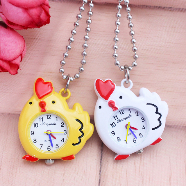 2018 cyd women girls cute chicken-shape portable pocket watches children boys ki