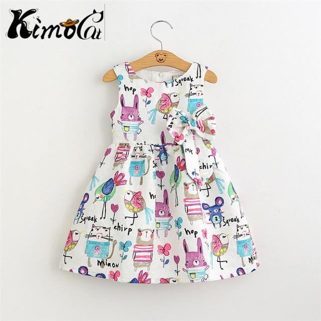 Kimocat New Summer cartoons graffiti big high quality   baby girl Birthday party dress