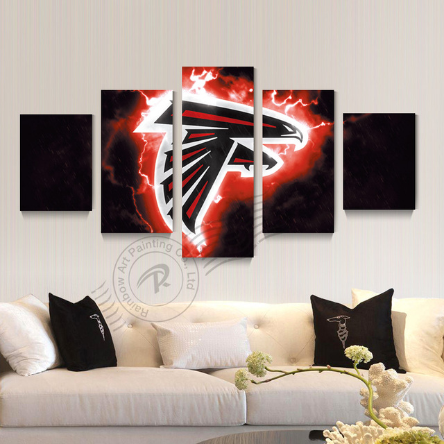 5 Panel Atlanta Falcons Sport Logo Wall Painting Cuadros Canvas Picture Art Home Decor For Room