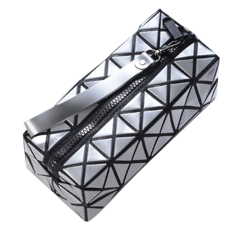Laser Flash Diamond Leather Makeup Bag New Toiletry Bag Fashion Geometric Zipper Cosmetic Bag Women Ladies Cosmetics Organizer new women fashion pu leather cosmetic bag high quality makeup box ladies toiletry bag lovely handbag pouch suitcase storage bag