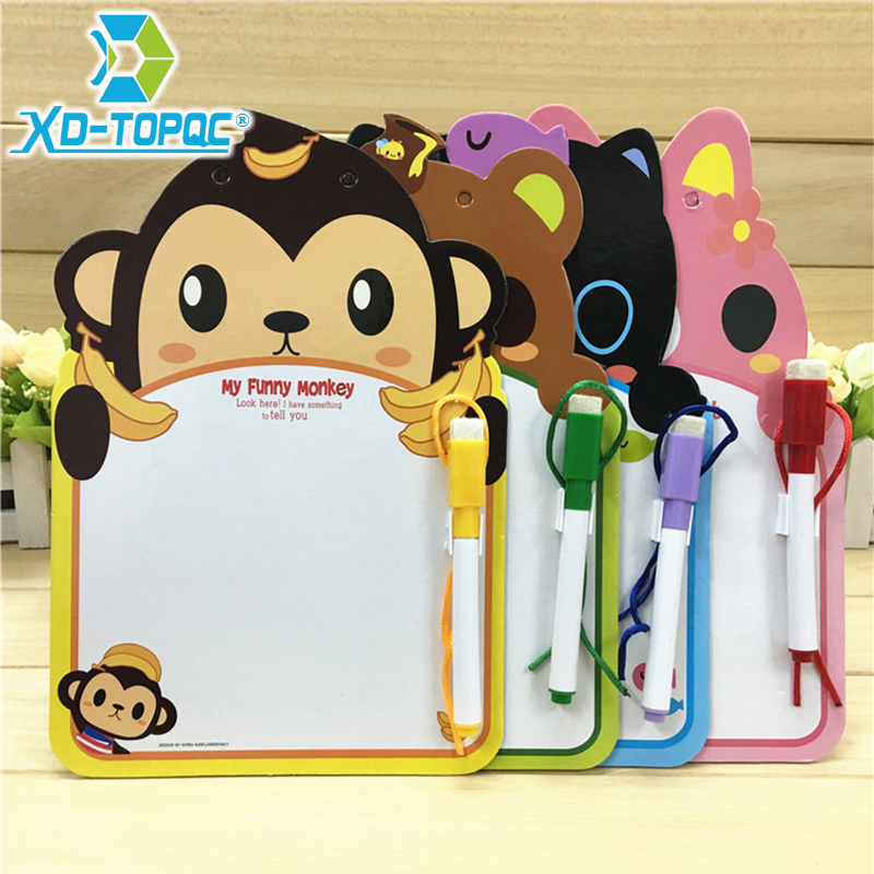 XINDI 24.6*16.7cm Kids Whiteboard Animal One Piece Cartoon Dry Wipe Cardboard Drawing Kid White Board Cute Hanging With Pen WB66