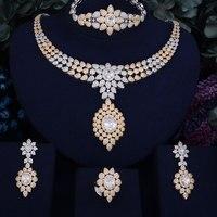 GODKI 77mm Luxury Water Drop Women Wedding Cubic Zirconia 4pcs Necklace Earring Ring Bangle Dubai Jewelry Set Jewellery Addict