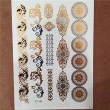 Big Tattoo Bracelets Gold Temporary Tattoo Jewelry Metallic Tatoo Golden Silver Tattoos For Women Girl