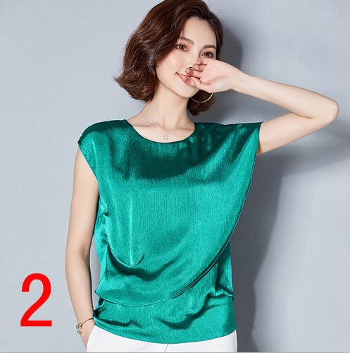 New J62650 Women Shirt Summer Solid Color Irregular Short Sleeve Chiffon Loose Big size Women O Neck Shirt-in T-Shirts from Women's Clothing