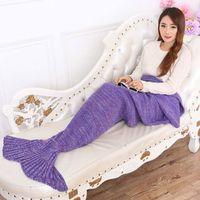 魚スタイル少し尾毛布寝具ソファ人魚毛布ウール編み暖かい睡眠王女lovesギフト熱い販