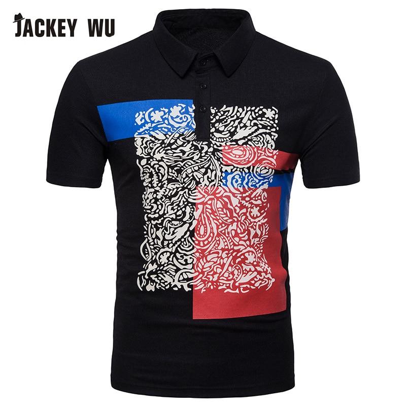JACKEYWU New   Polo   Shirt Men 2019 Fashion Casual European And American Style Printing Short Sleeved   Polo   Shirt Slim Men's   Polos