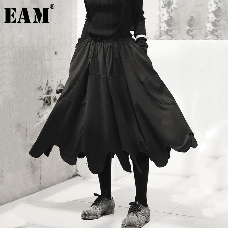 [EAM] Новинка 2018 года Осень Зима Высокая талия черный волна вырезать Нерегулярные Длинные haflf-тела юбка женская мода прилив все матч JH434