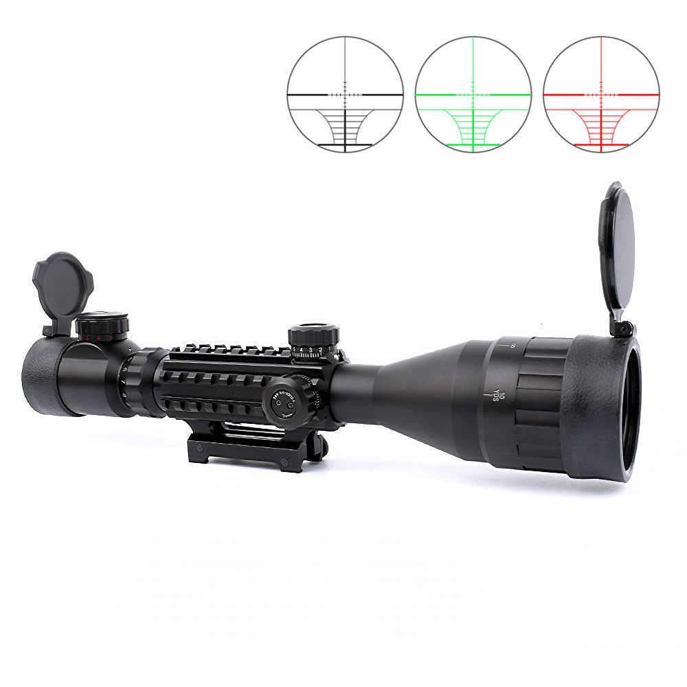 Láser alcance 4-16x50 rojo verde iluminado retícula Riflescope francotirador alcance con linterna 20MM riel montajes para caza