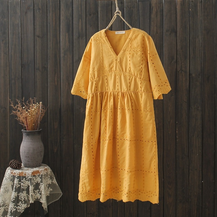 women bohemian dress 2019 female summer Japanese style boho v neck short sleeve yellow white embroidery