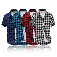 Fashion Slim Fit Plaid Shirt Men British Style Short Sleeve Shirts Casual Comfort Soft Cotton Men