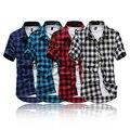 [Tamaño de asia, no tamaño de EE.UU./UE] venta Caliente thin slim fit hombres camisa a cuadros estilo británico de manga corta camisas casuales algodón camisa de los hombres