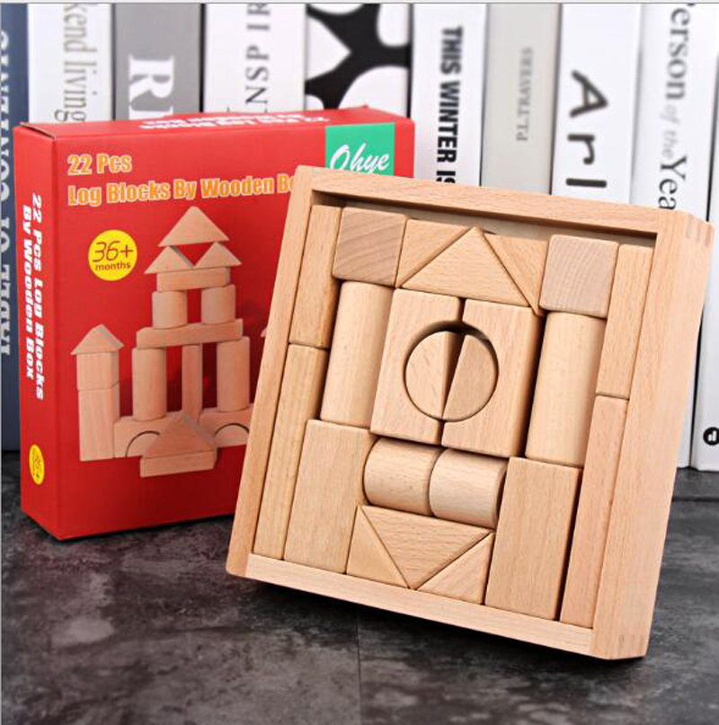 Free ship kids natural color 22pc solid beech wood wooden building construction blocks toys educational