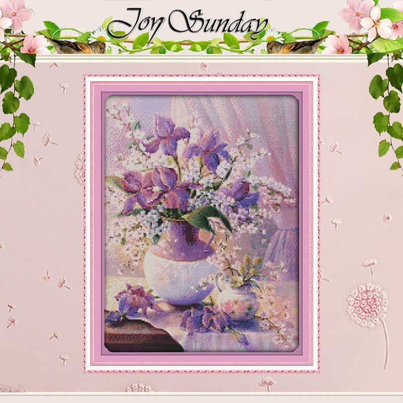 BARU!! Vas Ungu (2) Stitch Cross Dihitung 11CT 14CT Cross Stitch flowers Cross Stitch Kit untuk Embroidery Home Decor Needlework