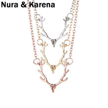 Fashion Temperament Fashionable Jewelry Elk Deer Antlers Pendant Necklace Christmas Gift For Women Girl QW52