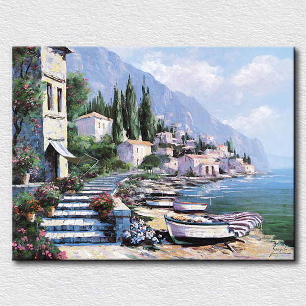 Beautiful seaboard city oil painting modern canvas painting living room decoration special gift for wife