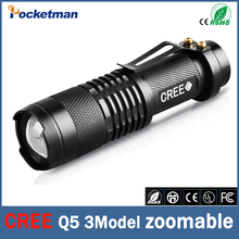 Top Quality Ultra Bright CREE Q5 LED Flashlight 3 Modes 2000 Lumens Zoomable LED Torch Light Free Shipping