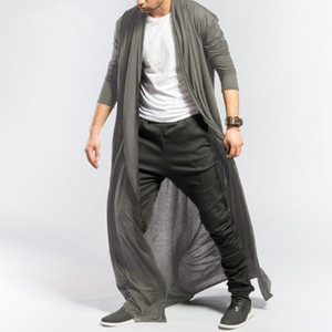 القوطية الرجال طويلة سترة الربيع الخريف ضئيلة طويلة خندق معطف رجالي بلون رقيقة عارضة سترة واقية جديد الذكور سترة قميص