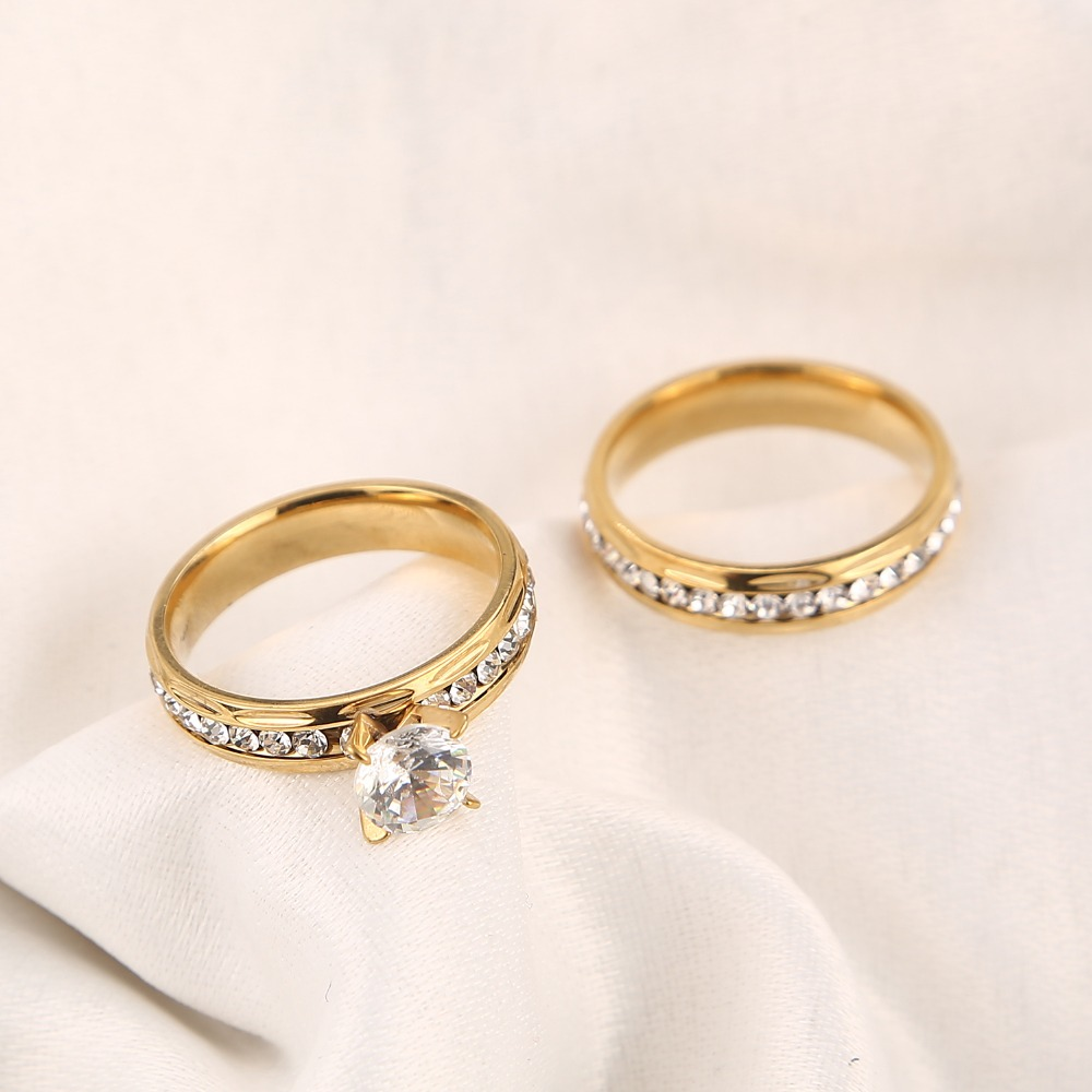 Gold wedding rings Stainless Steel Engagement Ring for Women with CZ 3