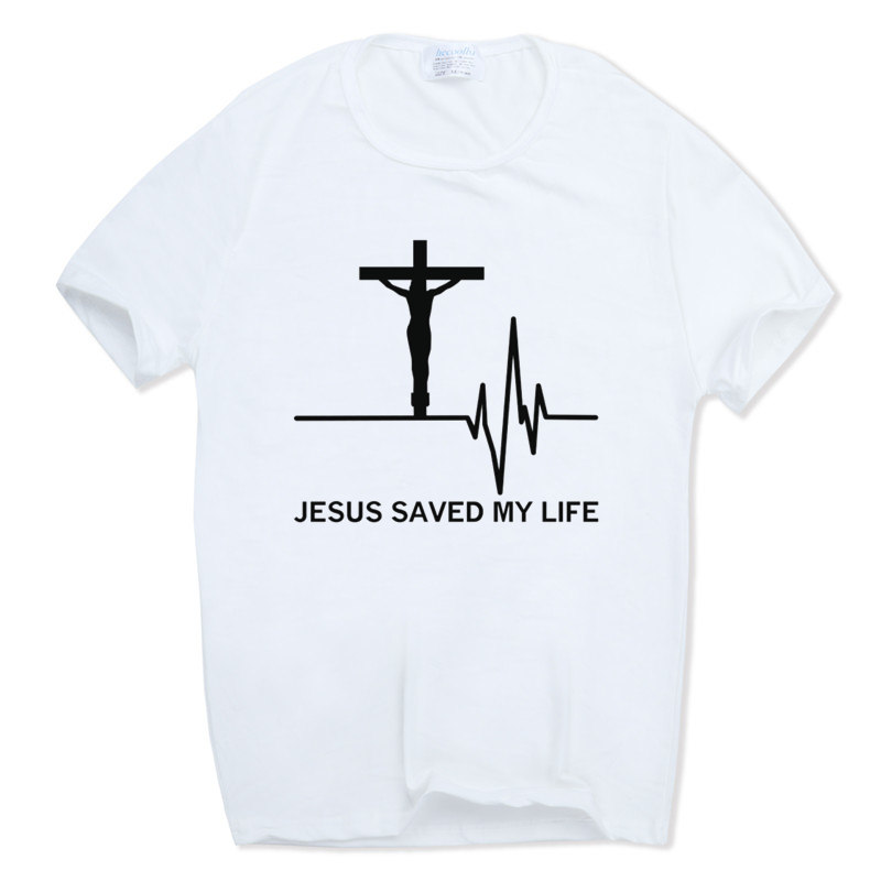 2017 Print Jesus Saved My Life T-shirt Short sleeve O-Neck Summer Savior God Religion Prayer Faith Christian T-shirt HCP959