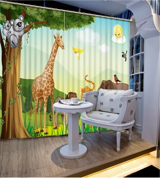 Cartoon Bedding room 3D Curtains 3D Window Curtains For Bedding room Home Decoration