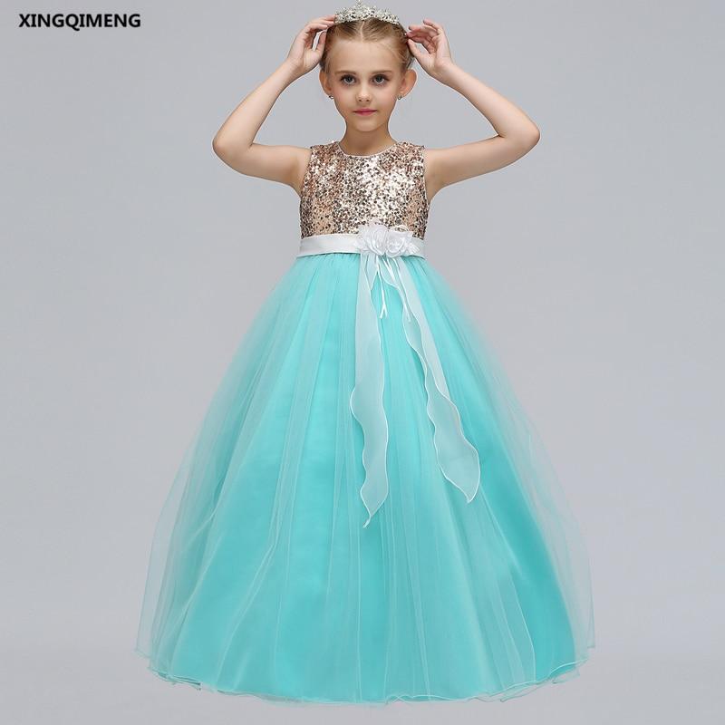 In Stock Mint Sequined Flower Girl Dress for Weddings 5-14Y Orange ...